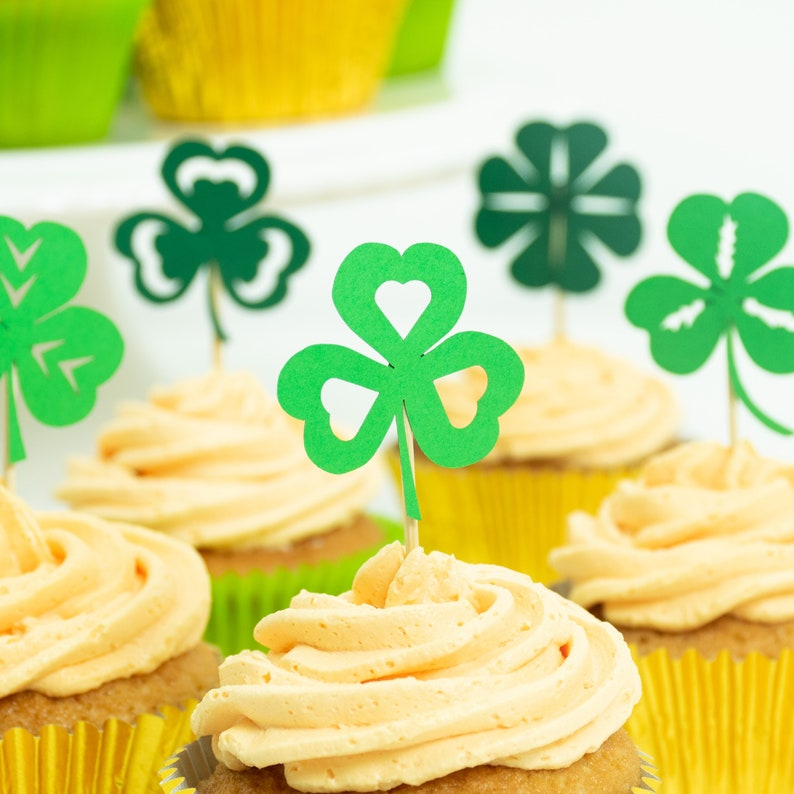12 Shamrock One Toppers Patty\u2019s Day Birthday Patricks\u2019s Day Decor Lucky One Toppers Four Leaf Clover Cupcake Toppers St St