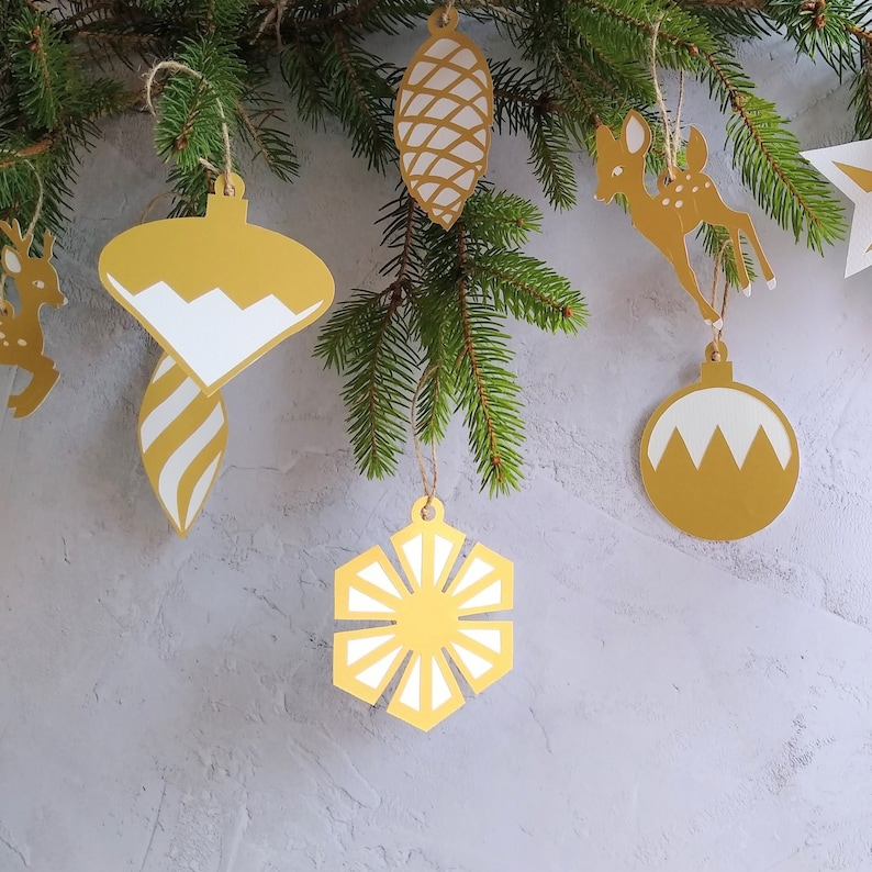 Gold Paper Bauble Tree Ornament Xmas Decoration