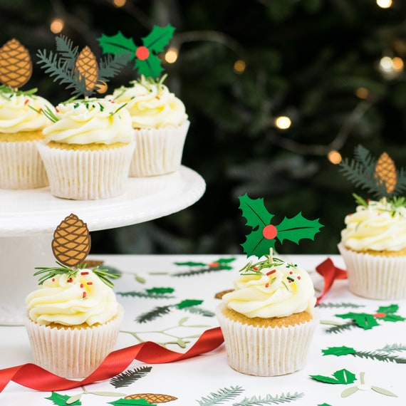Christmas Cake Decorations.Christmas Cupcake Toppers Holly And Spruce Christmas Cake Decorations Paper Cupcake Toppers