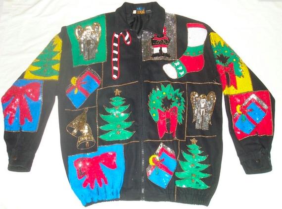 Vintage Christmas Sequin Jacket modi Denim Womens