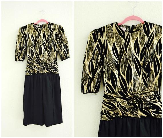 80er Jahre metallischen Prom Kleid schwarz und Gold von