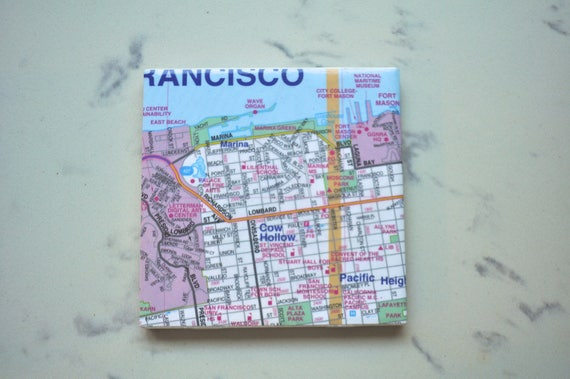 Pacific Heights San Francisco Map.San Francisco Marina Pacific Heights Bay Area Vintage Etsy
