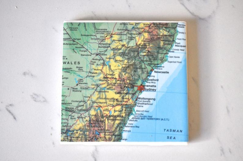Map Of Young Australia.Australia Sydney Vintage Map Coaster