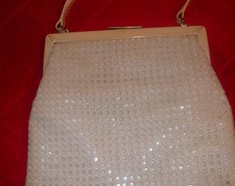 1960's INGBER Beige Patent Leather Designer Handbag Purse With Striped Lining