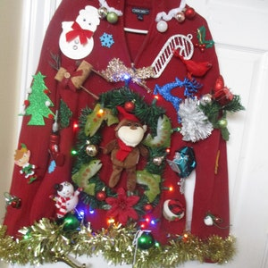 ugly christmas sweater ugly tacky xmas sweater size large hand made mens womens unisex lights up