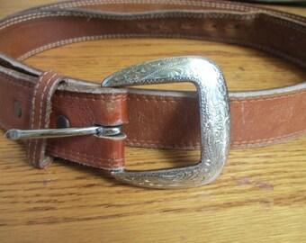 Justin brown leather Belt Western Belt Size 39