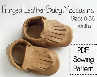 Fringe Leather Baby Moccasins PDF Sewing Pattern Tutorial