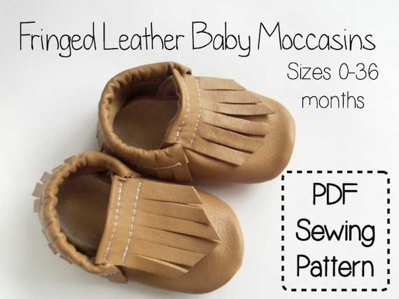 Fringe Leather Baby Moccasins Pdf Sewing Pattern Tutorial Etsy