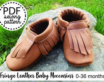 Baby Moccasins PDF Sewing Pattern and Tutorial   Baby Shoe Sewing Pattern   Leather Baby Shoes PDF