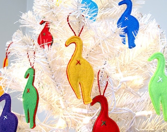 Set of 3 Whimsical and Colorful Cat Butt Christmas Ornaments.
