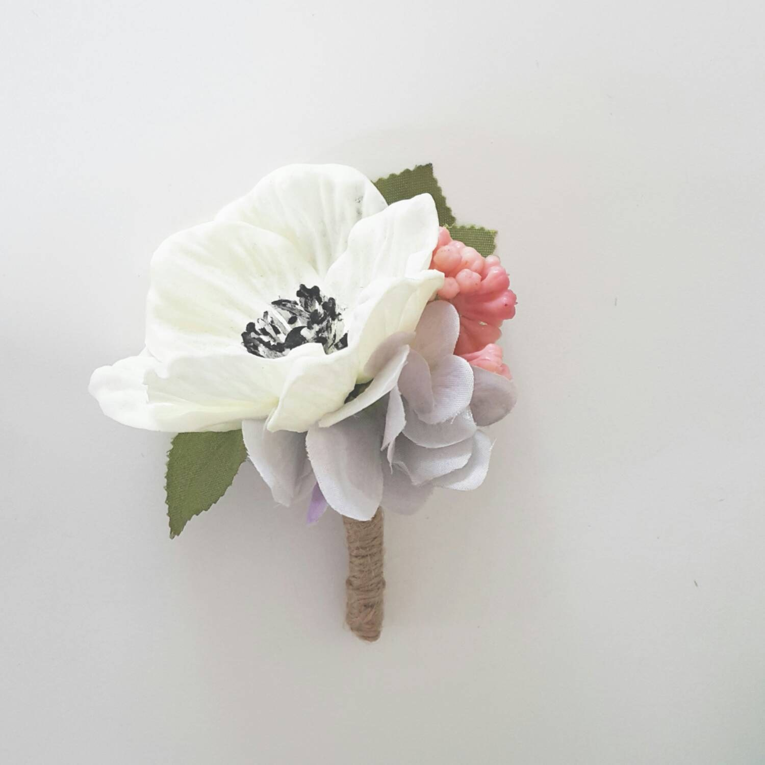 White anemone silk flower boutonniere real touch fake etsy zoom mightylinksfo