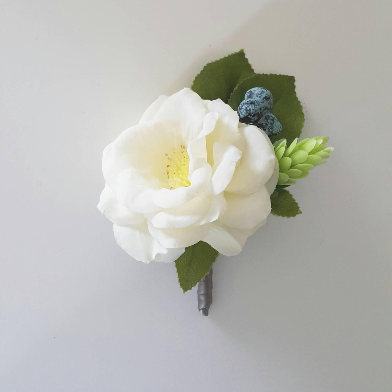 White Camellia Silk Flower Boutonniere Silk Flower Etsy