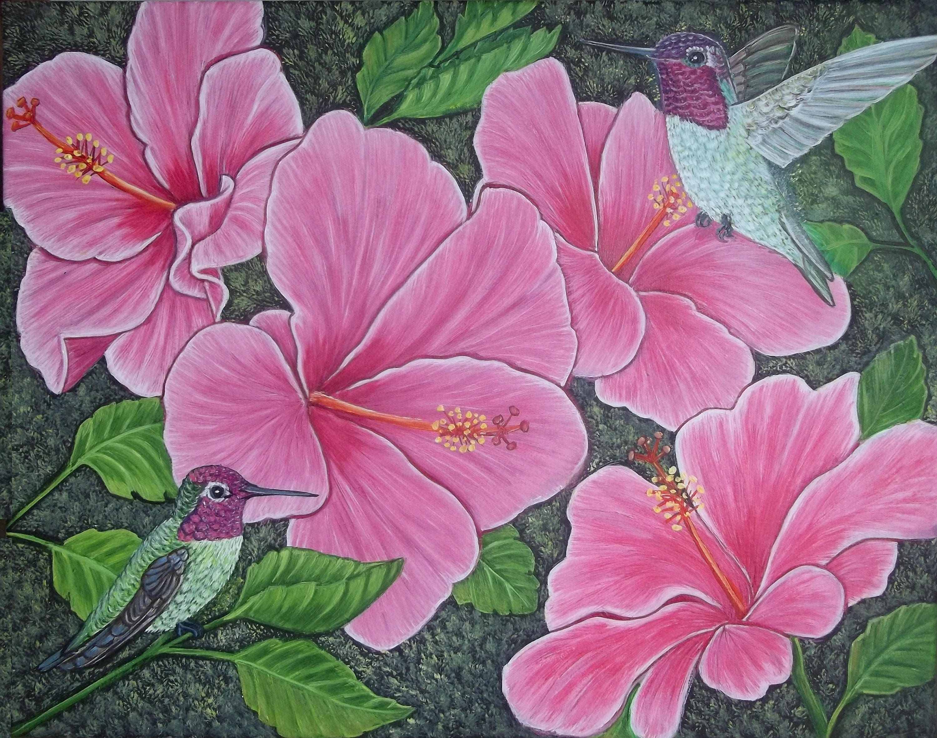 Two Hummingbirds And Pink Hibiscus Flowers Etsy