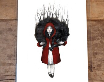 Little Red Riding Hood, 8 by 10 Inches, Art Print from Original Illustration, Animal, wolf, animal Illustration, Mythology, Children, Fables