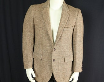 344f6e12349f Harris Tweed sport jacket Tan brown wool sport coat Men 90s casual clothing  Vintage blazer 2 leather buttons flap pockets 40 medium M
