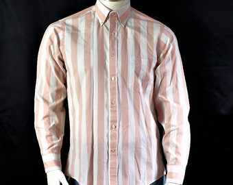 9c67d8d47d9a Men striped shirt long sleeve Mens vintage clothing White pink vertical  stripe button down shirt 15 1 2 collar Van Heusen 417 dress shirt S