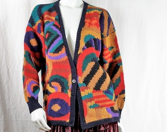 ff211c69e746be Hand knitted chunky cardigan sweater Women vintage colorful wool cardigan  Long multi color geometric knit jacket 90s color block clothing M