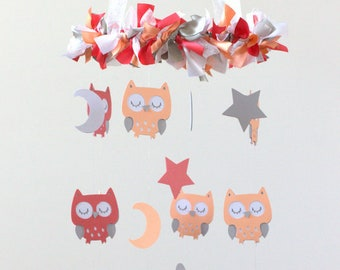 Owl Nursery Mobile in Coral, Peach, Gray & White- Baby Mobile, Baby Shower Gift