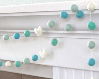 Aqua Turquoise Felt Ball & Heart Garland- Pom Pom- Nursery- Holiday- Wedding- Party- Childrens Room