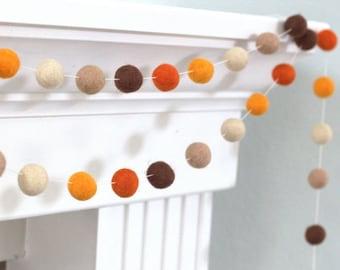 """Fall Felt Ball Garland- Brown Orange Thanksgiving Autumn- 1"""" (2.5 cm) Wool Felt Balls - 100% Wool"""