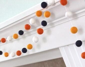 "Halloween Felt Ball Garland- Black, Tangerine, Orange & White- Nursery- Holiday- Party- Childrens Room- 1"" (2.5 cm)- 100% Wool"