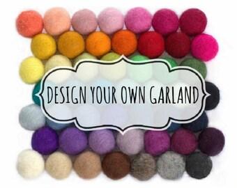 """Design Your Own Felt Ball Garland- 1"""" (2.5 cm) Wool Felt Balls- 100% Wool"""
