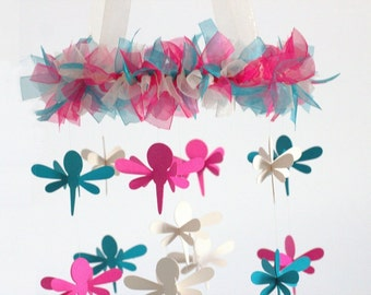Dragonfly Nursery Mobile in Hot Pink, Teal & Ivory- SMALL Size- Nursery Mobile, Baby Shower Gift