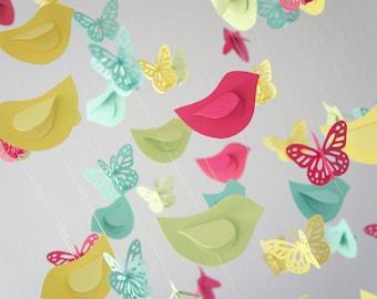 Butterflies & Bird Mobile - Nursery Mobile, Baby Shower Gift, Nursery Decor