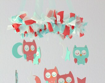 Owl Nursery Mobile in Aqua, Coral & White- Baby Mobile, Crib Mobile, Baby Shower Gift