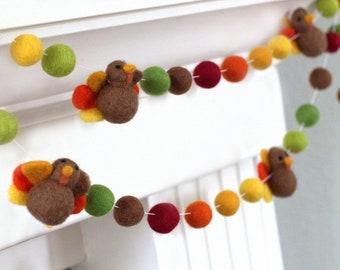 "Thanksgiving Garland- Felt Ball & Turkey- Brown Burgundy Green Orange Fall Autumn- 1"" (2.5 cm) 100% Wool"