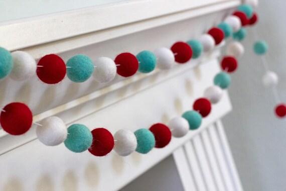 Christmas Ball Garlands.Red Turquoise White Christmas Garland Felt Ball Garland Christmas Holiday Decor 1 2 5 Cm Wool Felt Balls
