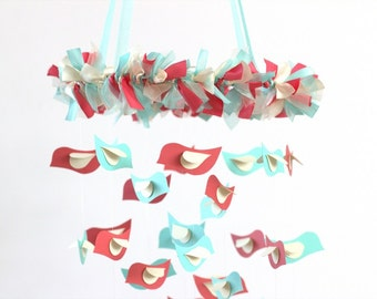 Aqua, Coral & Ivory Baby Bird Nursery Mobile, Wedding Decor, Baby Shower Gift, Photographer Prop