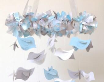 Bird Nursery Mobile in Baby Blue, Gray & White