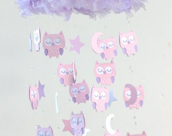 Owl Nursery Mobile in Pink, Lavender & White- LARGE VERSION Baby Mobile, Crib Mobile, Baby Shower Gift