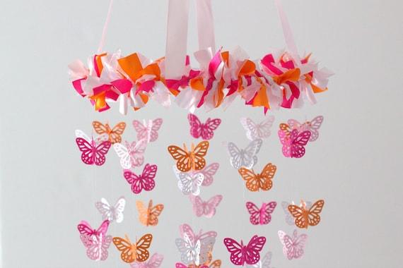 Chambre d'enfant Orange et rose papillon lustre - Mobile Mobile, bébé  douche cadeau, décoration de chambre d'enfant, mariage lustre