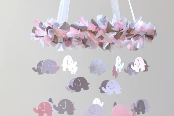 Pink Gray Mobile Elephant Mobile Crib Mobile Baby Shower