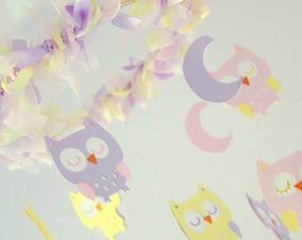 Owl Nursery Mobile in Pink, Lavender & Light Yellow- Baby Mobile, Baby Shower Gift