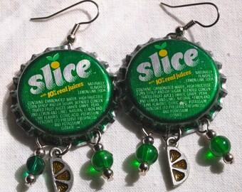 Retro Earrings, Bottle Cap, Slice, Soda, Green, OOAK
