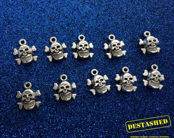Skull and Crossbones Tibetan Silver Charms Wholesale Lot 15  Pieces