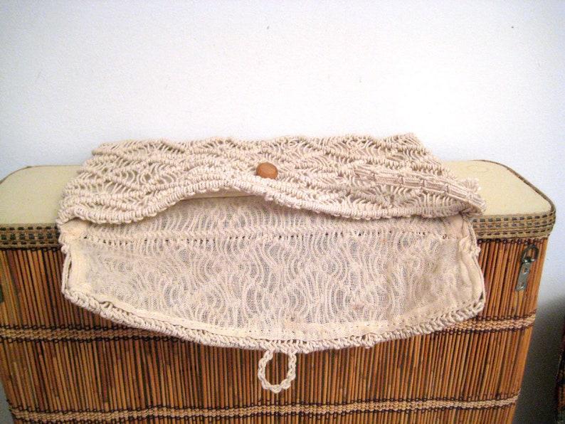 daa813b8709 1970s macrame wristlet 70s cream knotted envelope clutch | Etsy