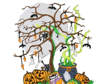 ID 0871 Halloween Night Scene Patch Trick Or Treat Embroidered Iron On Applique