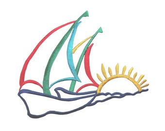 c8bcbfecdbf6a ID 5011 Sailing Sunset Large Patch Ocean Sea Boat Embroidered Iron On  Applique