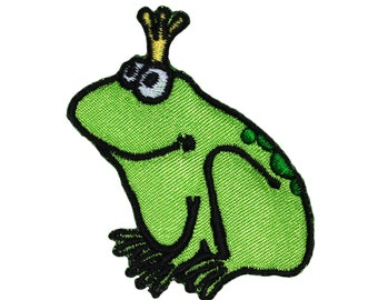 Prince Frog Boy W/Bowtie & Checkered Bib Iron On Applique Patch