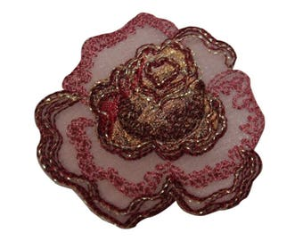ID 6234 Pink Rose Flower Bush Patch Plant Garden Embroidered Iron On Applique