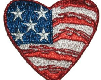 e730fd1ef1e American US Flag Heart Patch Patriotic Symbol Stars Embroidered Iron On  Applique