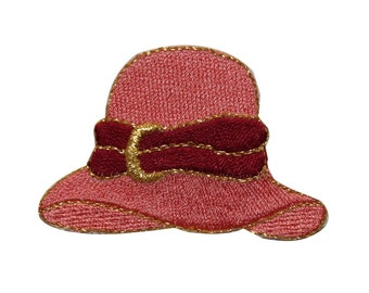 8b8b62f563b ID 7593 Pink Bonnet Hat Patch Classic Fashion Cap Embroidered Iron On  Applique