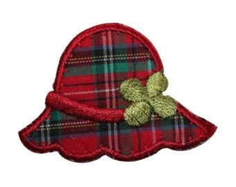 36dae2585dd ID 8417 Plaid Flower Sun Hat Patch Rain Cap Fashion Embroidered Iron On  Applique