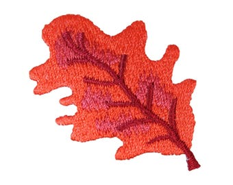 ID 1421C Autumn Oak Leaf Patch Tree Decoration Embroidered Iron On Applique