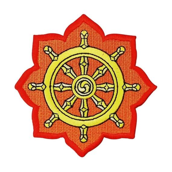Dharmachakra Dharma Wheel Patch Buddhist Symbol Embroidered Etsy