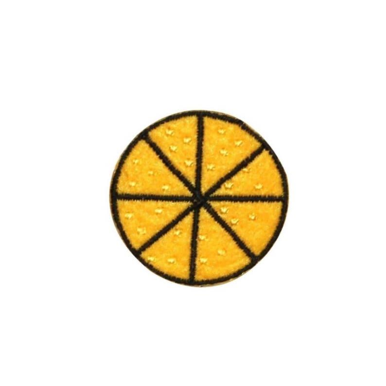 ID 1213A Felt Lemon Slice Patch Summer Lemonade Embroidered Iron On Applique